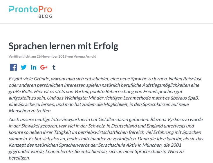 Prontopro Sprachschule Aktiv Wien