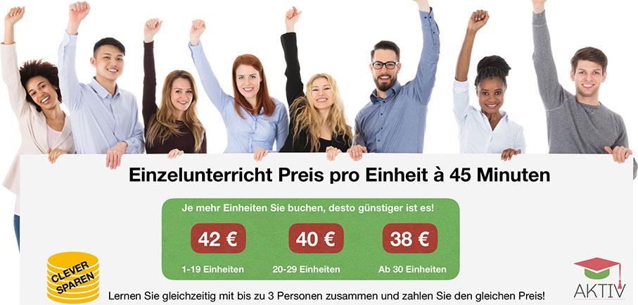 Preise für Online-Privatkurse in der Sprachschule Aktiv Wien