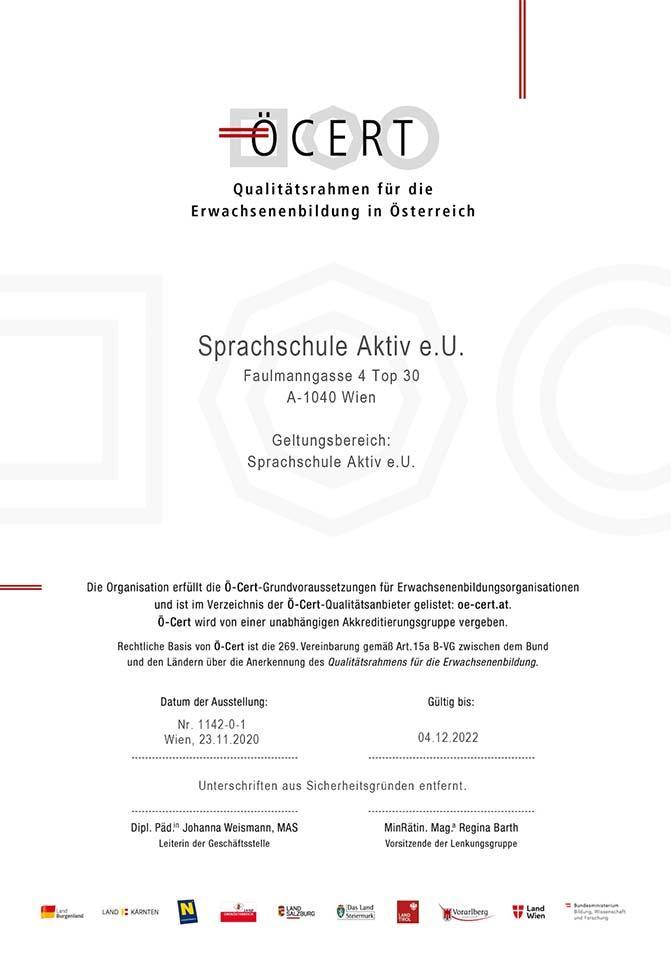 Sprachschule Aktiv Wien Ö-Cert zertifiziert