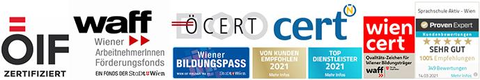 Zertifizierte Sprachkurse in der Sprachschule Aktiv Wien - ÖIF, WAFF, Ö-CERT, WIEN-CERT, WIENER SPRACHGUTSCHEIN